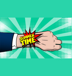 Summer time comic text pop art hand watch vector