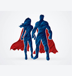 Super hero man and woman standing graphic vector