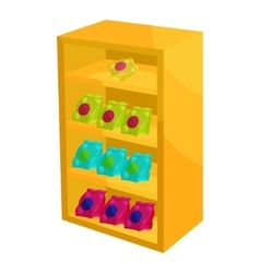 Supermarket shelf with cookies icon cartoon style vector