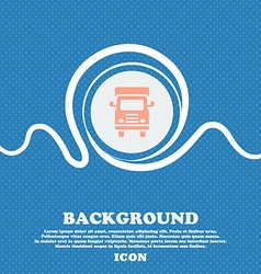 Transport truck icon sign Blue and white abstract vector image