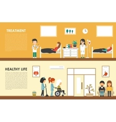 Treatment healthy life flat hospital interior vector