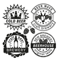 vintage brewery logo emblems and badges vector image vector image