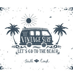 Vintage summer surf print with a mini van palm vector