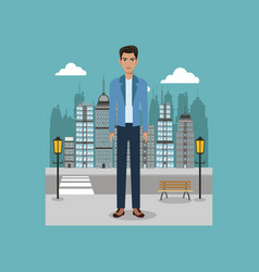 young guy standing street brench and lamp post vector image vector image