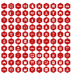 100 activity icons hexagon red vector