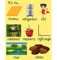 Many words begin with letter r vector