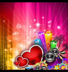 Valentines Day party invitation flyer background vector image