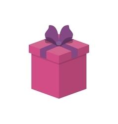 Gift box present ribbon celebration decoration vector