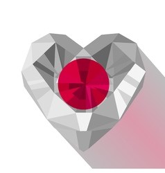 Crystal gem jewelry japanese heart with the flag vector