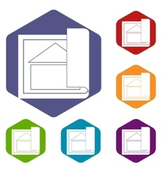 Building plan icons set vector