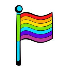 Rainbow flag icon icon cartoon vector