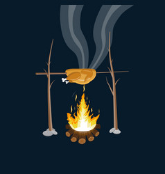 Bonfire with grilled chicken logs and fire vector