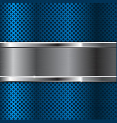 blue metal background with perforation vector image