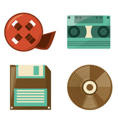 Retro reel film diskette cassette and cd play vector