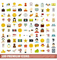 100 premium icons set flat style vector