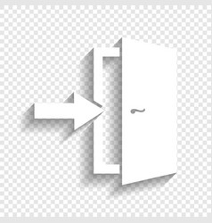Door exit sign white icon with soft vector