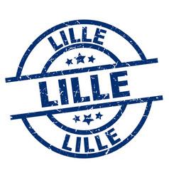 Lille blue round grunge stamp vector