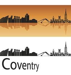 Coventry skyline in orange background vector image