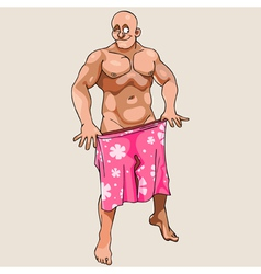 Cartoon naked man winks and covered shorts vector