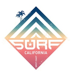 Surfing vintage label california west coast vector