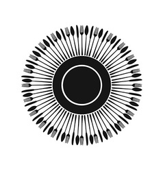 Black cutlery silhouettes around plate vector