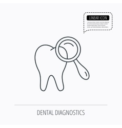 Dental diagnostic icon tooth hygiene sign vector