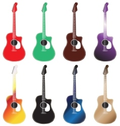 Set of colored acoustic guitars arranged in 2 rows vector
