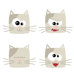 Icons of cute cat characters vector
