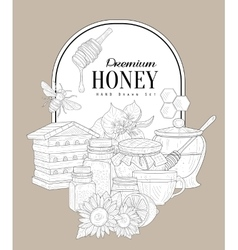 Premium honey vintage sketch vector