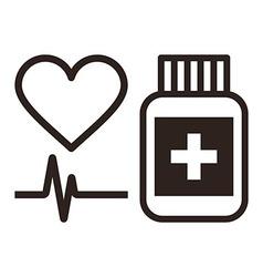 Medicine heart and ecg symbol vector image
