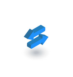 arrows exchange isometric flat icon 3d vector image vector image