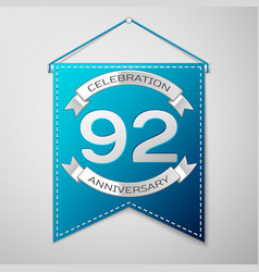 blue pennant with inscription ninety two years vector image vector image