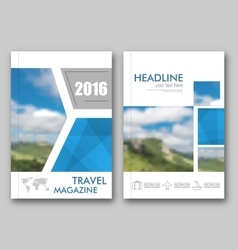 Brochure Template of Travel Magazine Cover Design vector image