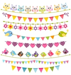 Colorful flags and garlands vector image vector image