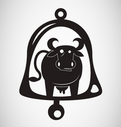 cow bell silhouette vector image vector image