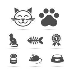 Cute cat icon symbol set on white vector image vector image