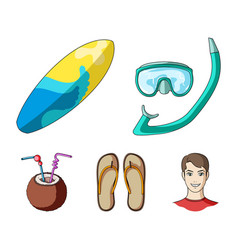 Diving surfing cocktailsummer vacation set vector