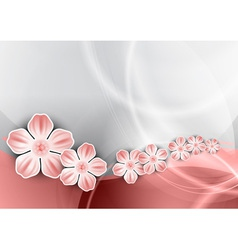 flowers on the pink wave vector image vector image