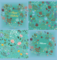 Green floral patterns set vector