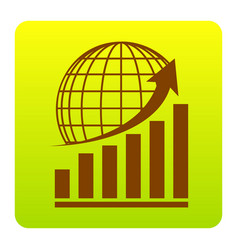 Growing graph with earth brown icon at vector