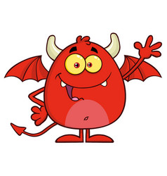 Happy red devil cartoon character waving vector