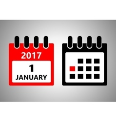January 1 flat daily calendar icon Date vector image