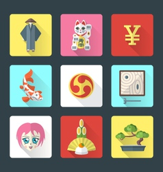 Japan theme flat style icons set vector