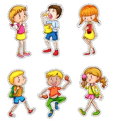 Kids in different actions set vector