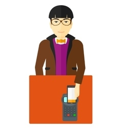 Man paying using smartphone vector image vector image