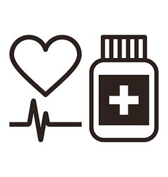 Medicine heart and ecg symbol vector
