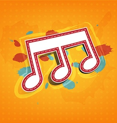 Melody note label with ink paint background vector