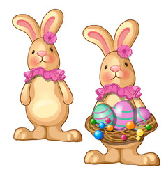 rabbit holding basket of easter eggs vector image vector image