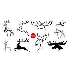 set of black images of moose and deer abstract vector image vector image