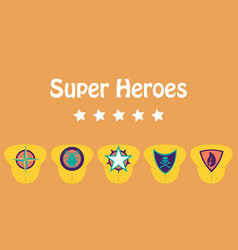 set of superhero color flat badges emblems logos vector image